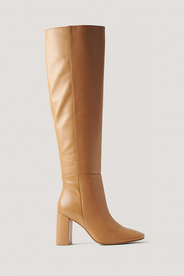 Knee High Leather Boots Tan