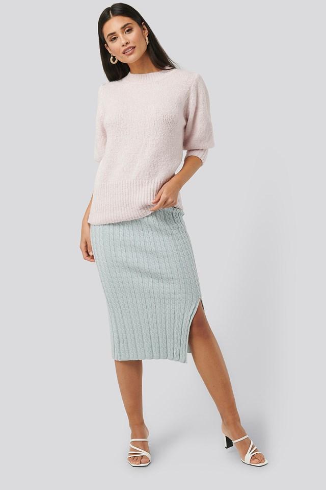 Knitted Pencil Skirt Light Blue