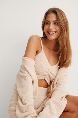Light Beige Knitted Ruched Detail Top