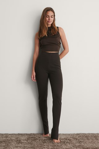 Brown Knitted Slit Pants