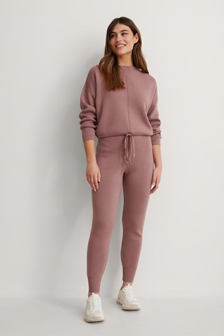 Dusty Dark Pink Knitted Trousers