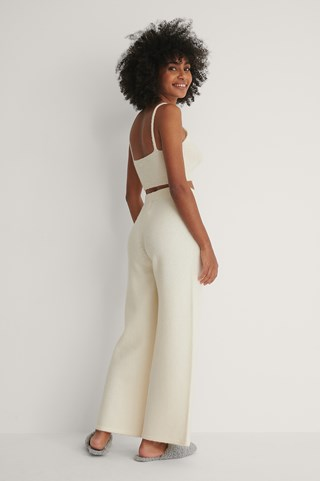 White Knitted Wide Cropped Trousers