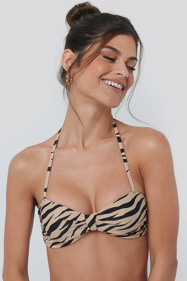 Knot Bikini Bandeau Top Zebra
