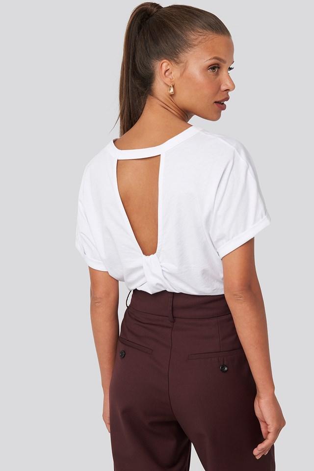 Knot Detail Open Back T-shirt White