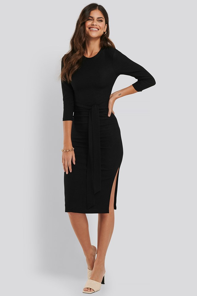 Knot Detail Structured Midi Dress Black
