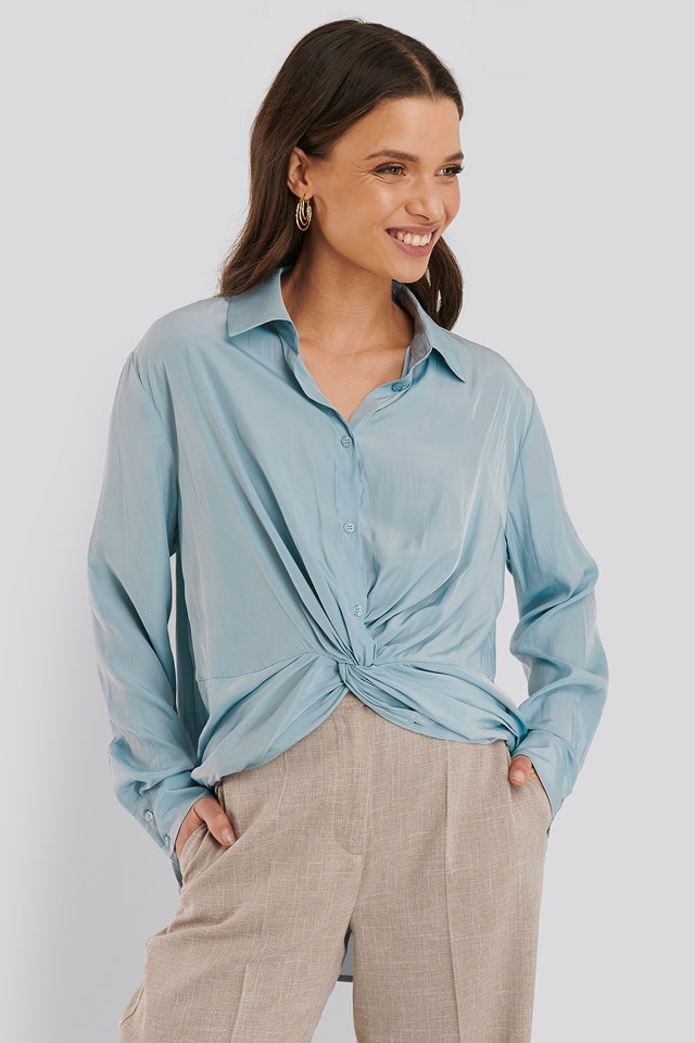 Knot Front Blouse Dusty Blue