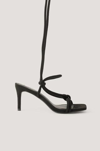 Black Knotted Straps Heeled Sandals