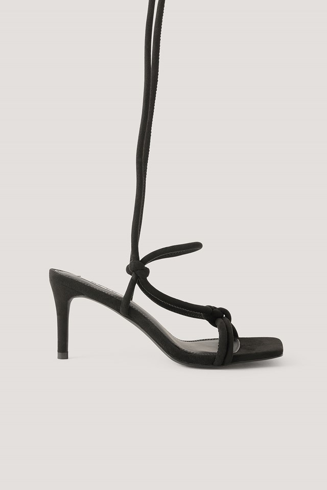Knotted Straps Heeled Sandals Black