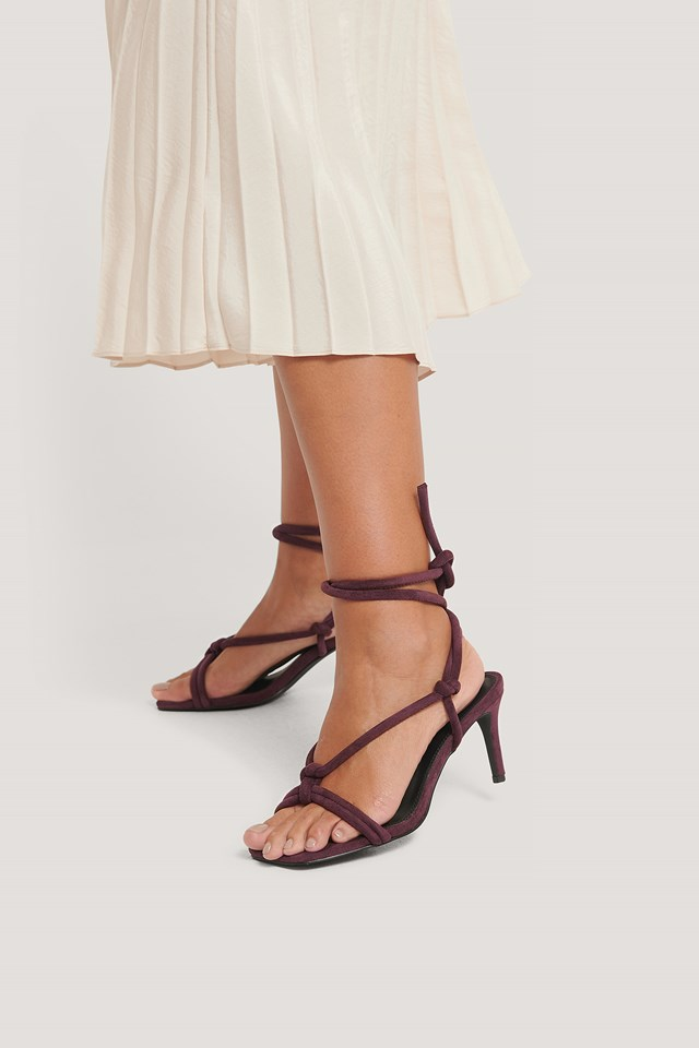 Burgundy Knotted Straps Heeled Sandals