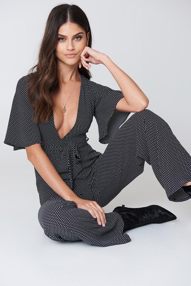 Flare Sleeve Jumpsuit Dot Print
