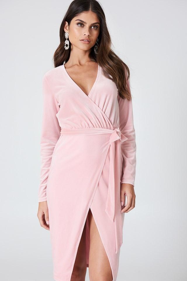 Velvet Midi Dress Light Pink