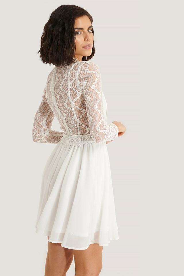 Lace Anglaise LS Mini Dress White