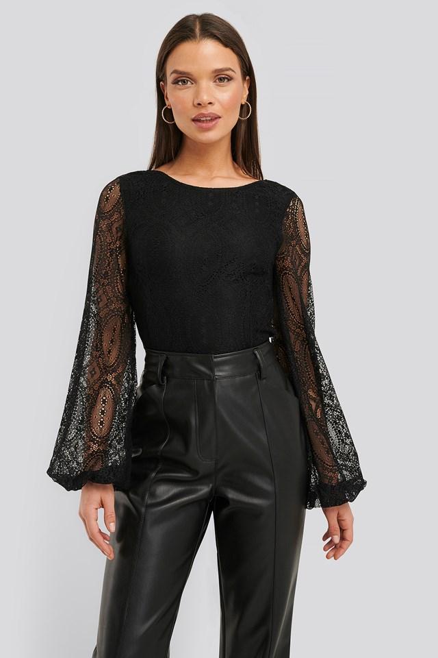 Lace Balloon Sleeve Blouse Black
