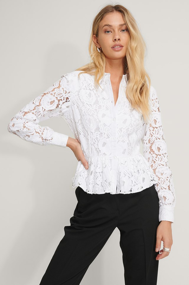 Lace Collar Blouse White