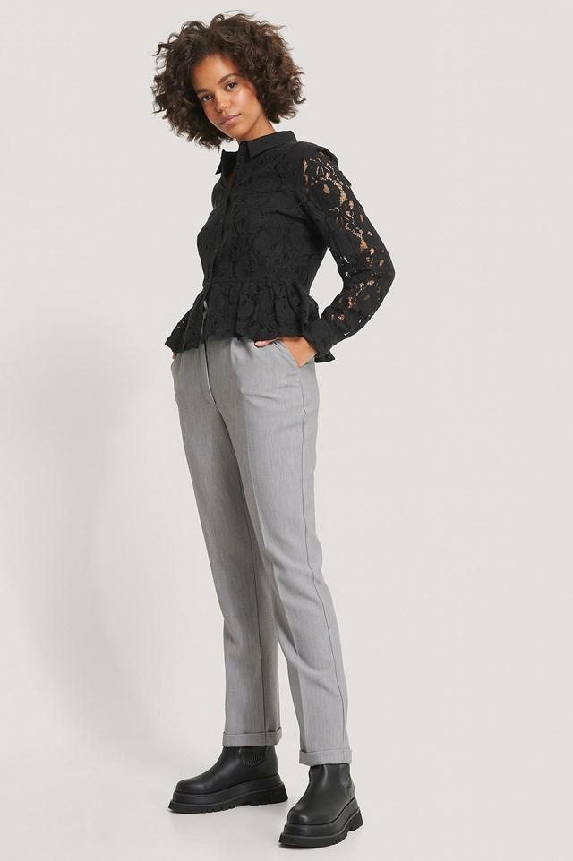Lace Collar Blouse Black