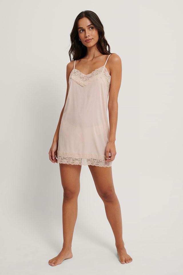 Lace Detail Night Dress Pink