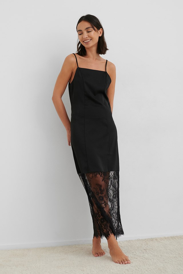 Lace Detail Satin Slip Dress Black
