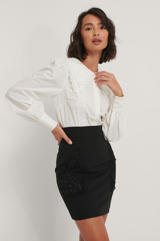 Lace Detail Shirt White