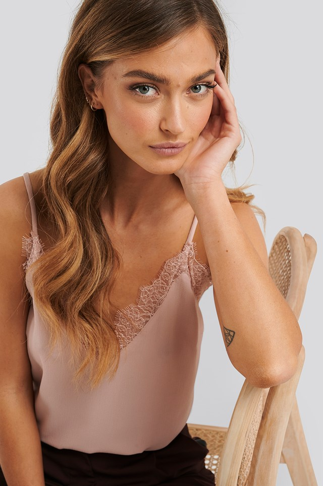 Powder Pink Lace Detail Singlet
