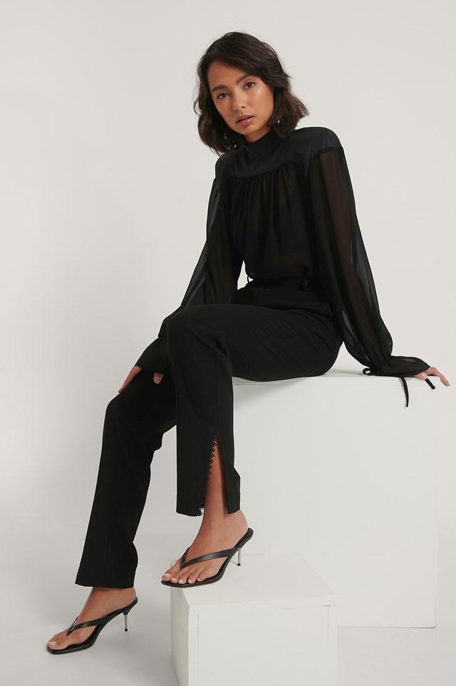 Lace Detail Suit Pants Black