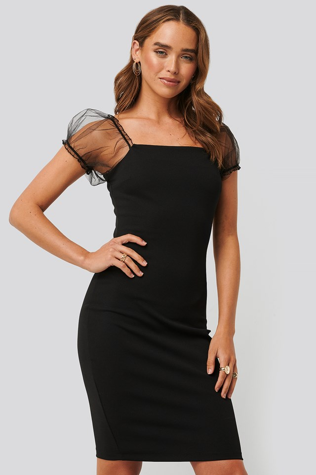 Lace Detailed Dress Black