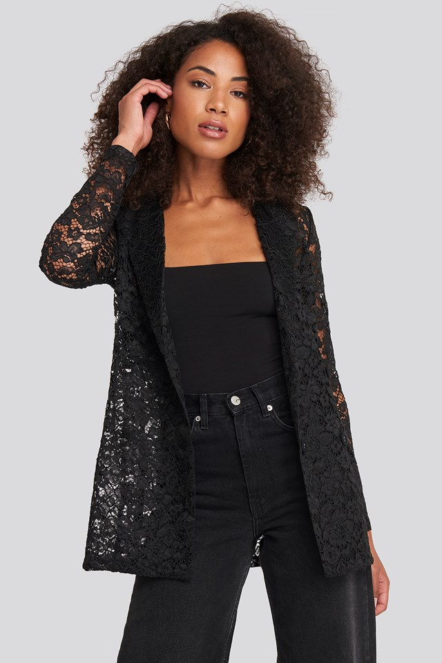 Lace Double Breasted Blazer Black
