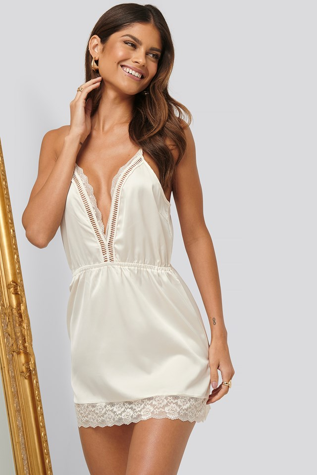 Lace Edge Babydoll Offwhite