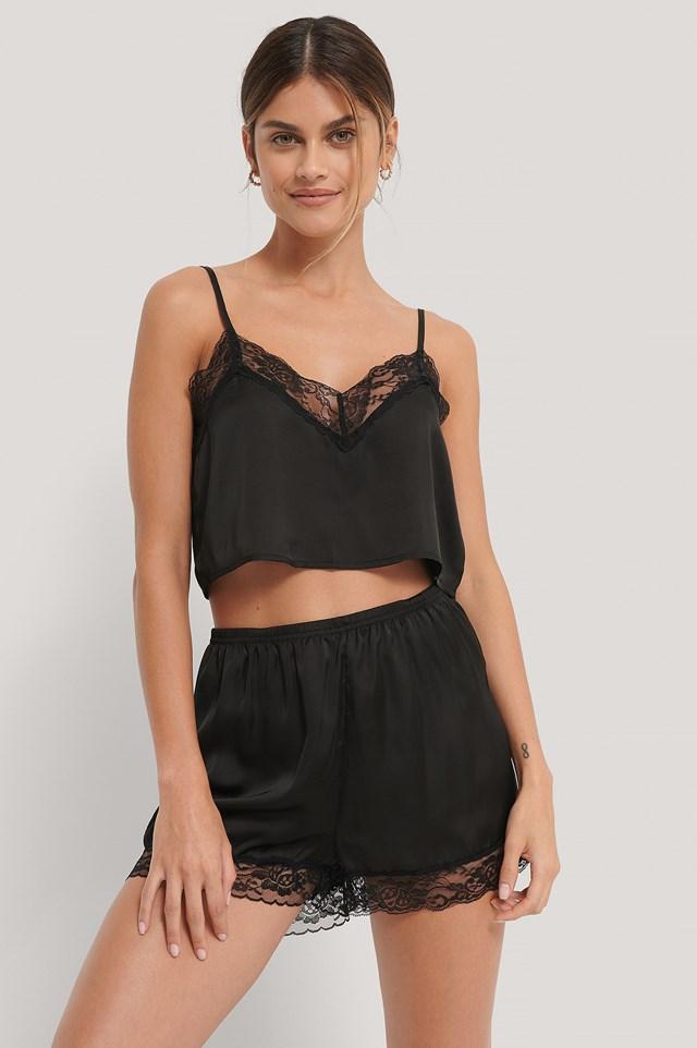 Lace Edge Night Shorts Black