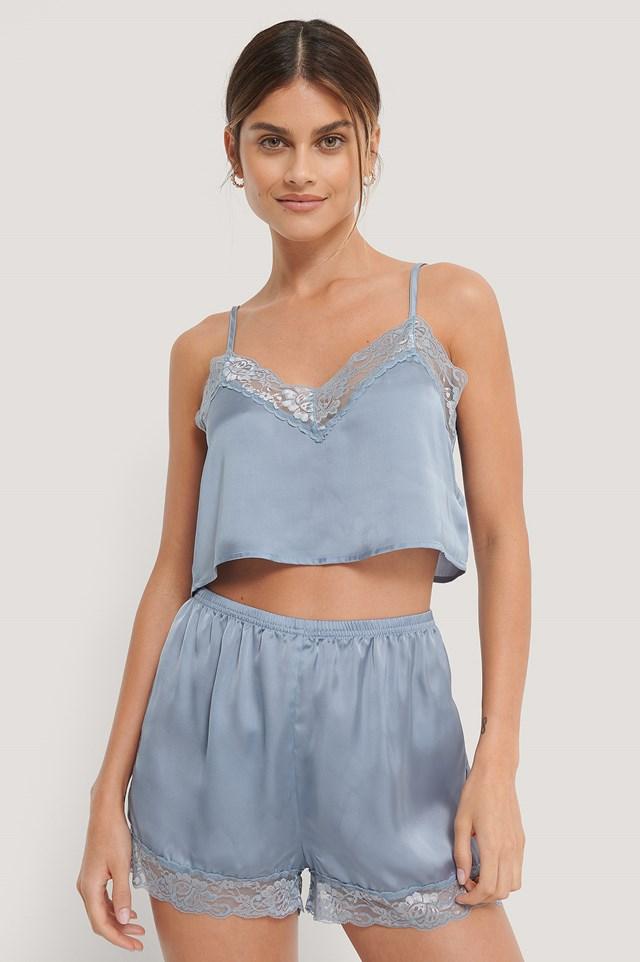 Lace Edge Night Shorts Blue