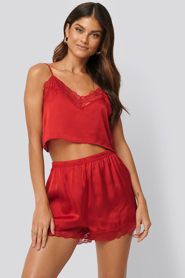 Lace Edge Night Shorts Red