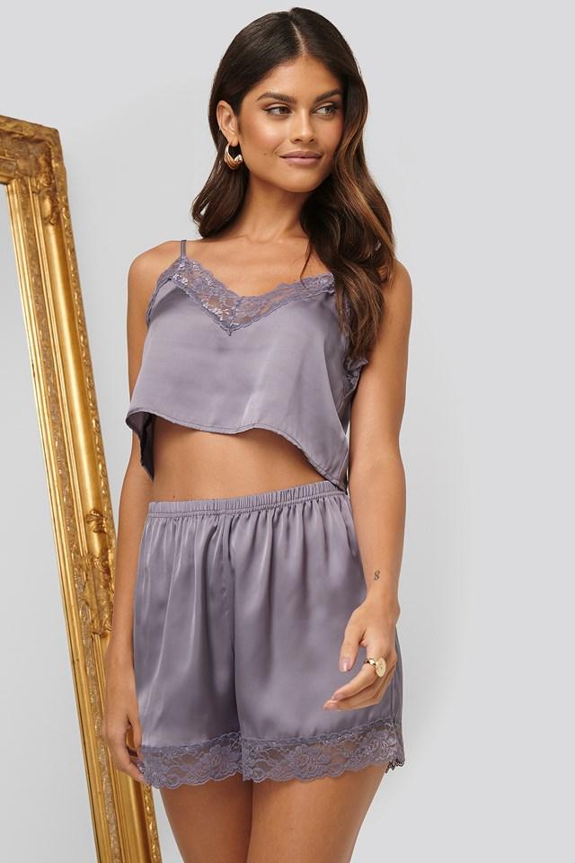 Lace Edge Night Shorts Dusty Purple