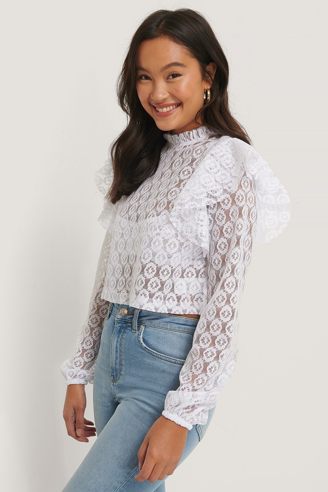 Lace Frill Top White