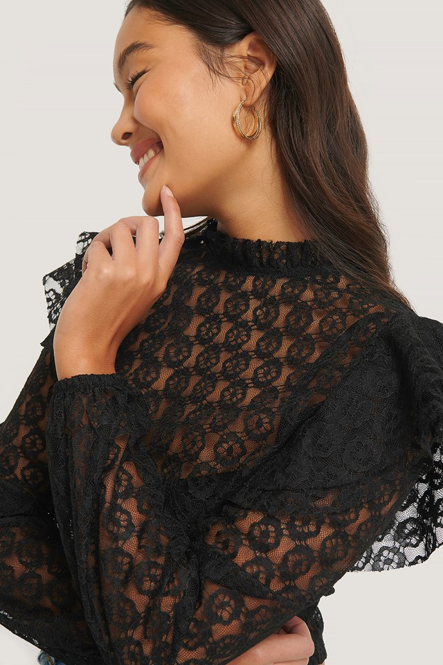 Lace Frill Top Black