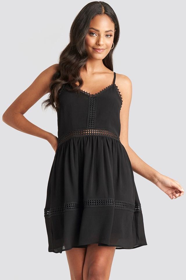 Black Lace Insert Flowy Mini Dress