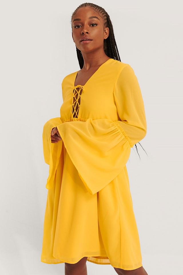 Lace Up Flowy Dress Citrus