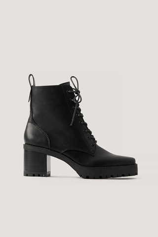 Black Lace Up Squared Profile Sole Boots
