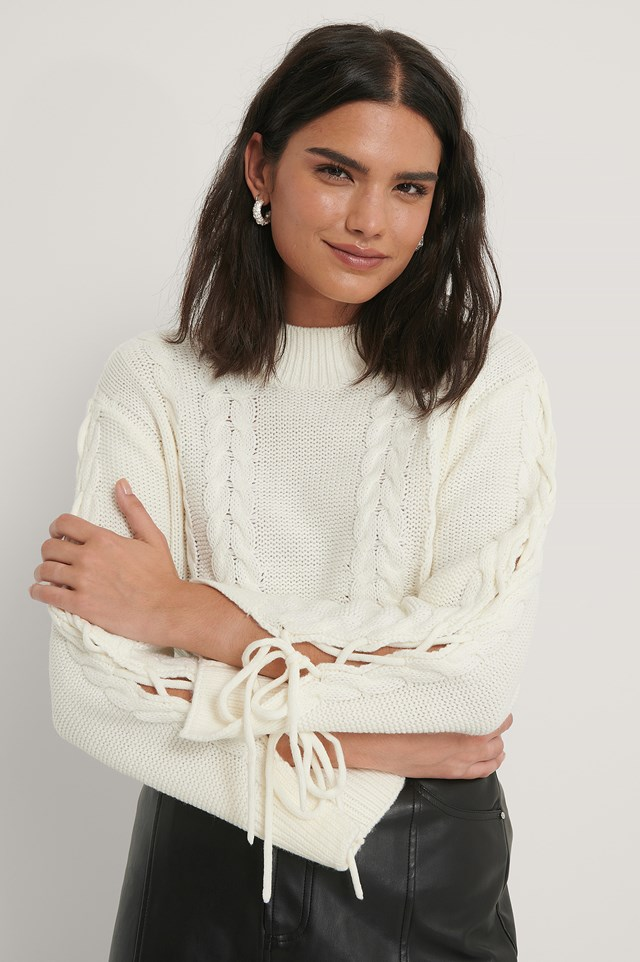 Lacing Detail Knitted Sweater Offwhite