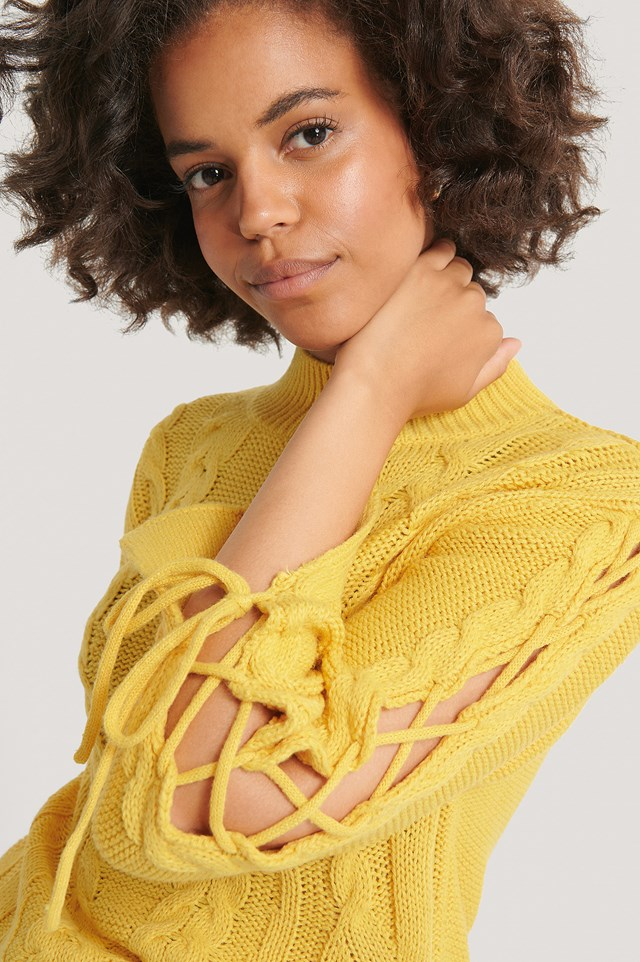 Lacing Detail Knitted Sweater Dusty Yellow
