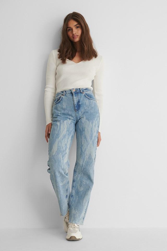 Laser Tie Dye Straight Jeans Light Blue