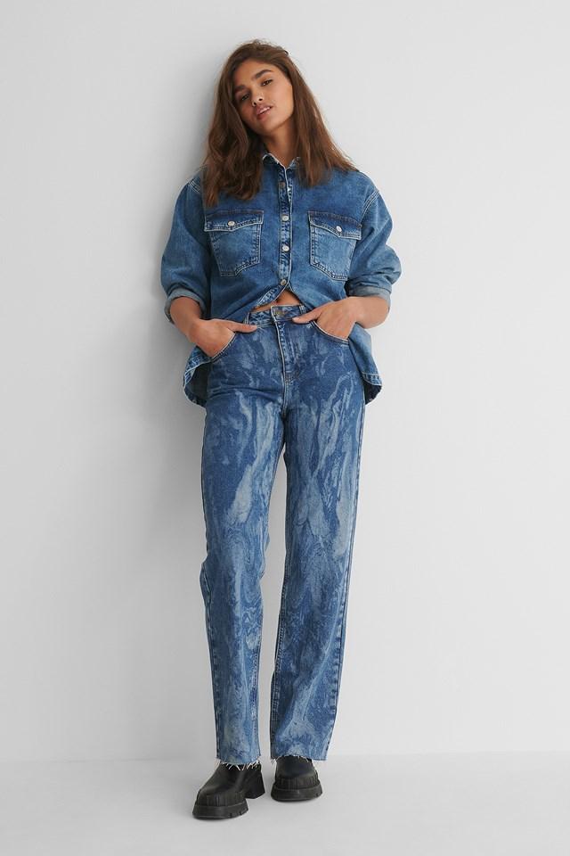 Laser Tie Dye Straight Jeans Mid Blue