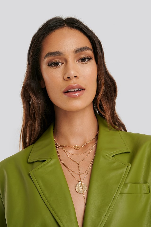 Layered Coin Drop Chain Necklace NA-KD Accessories