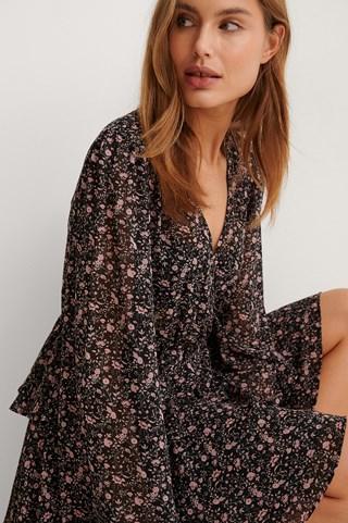 Black/Pink Flower Print Layered Flounce Dress