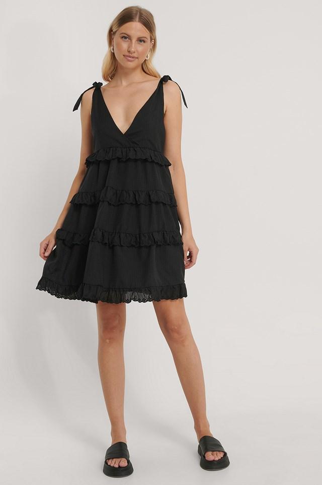 Layered Flounce Flowy Tie Dress Black
