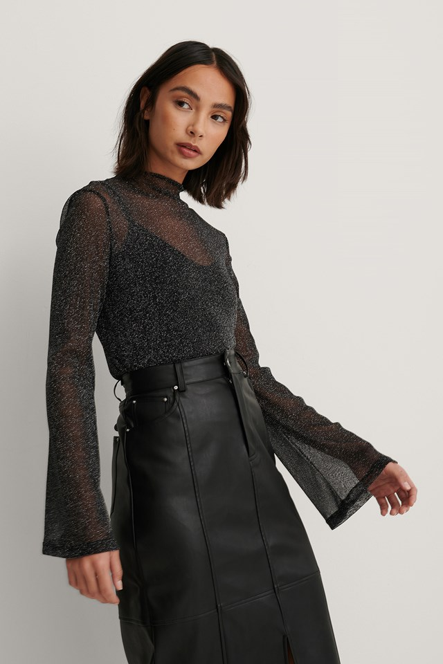 Layered Lurex Top Black