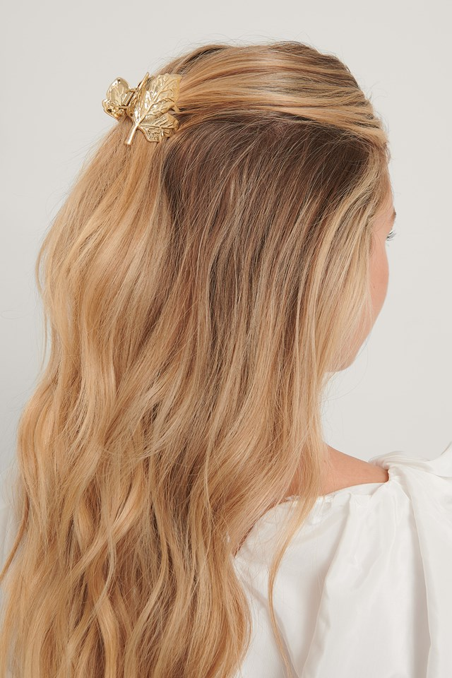 Leaf Hair Clip Gold