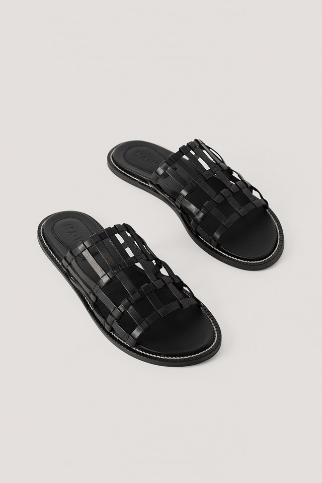 Leather Cage Slippers Black