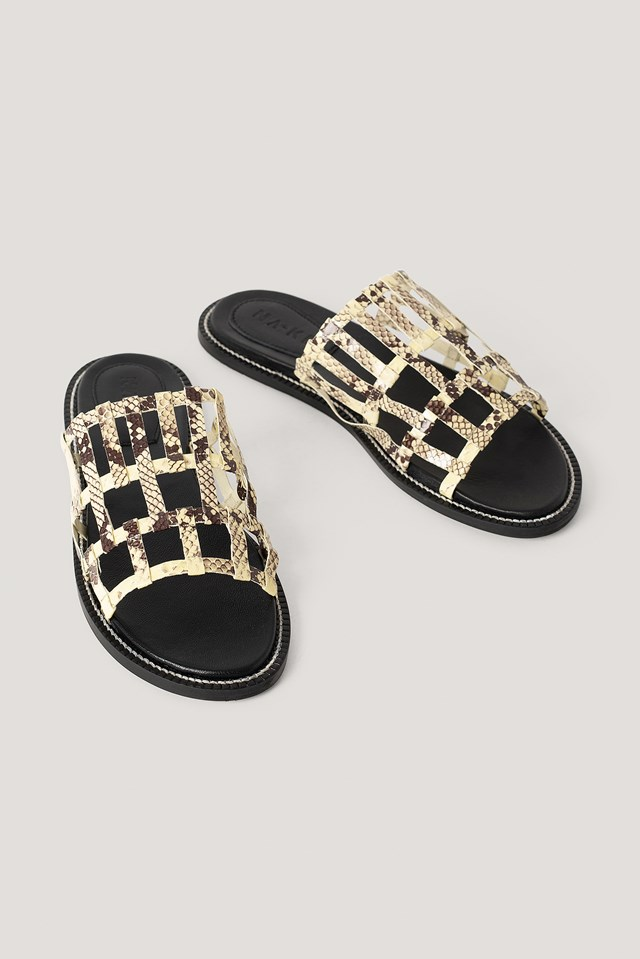 Leather Cage Slippers Snake