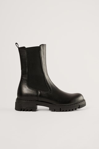 Black Leather Profile Chelsea Boots