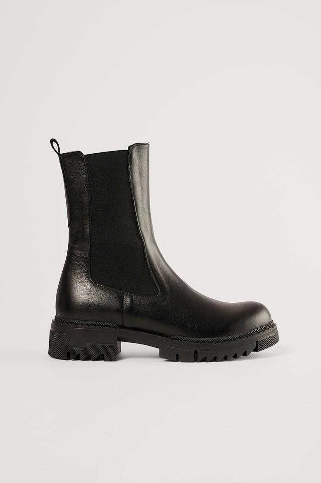 Black Leather Profile Chelsea Boots