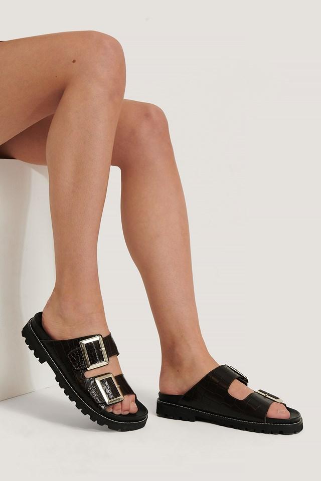 Leather Chunky Buckle Sandals Mocha